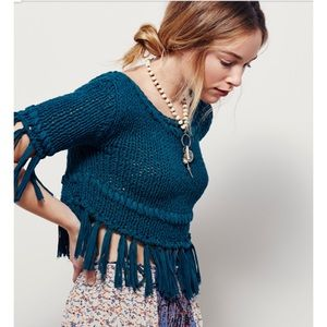 Free People On The Fringe Pullover in Green